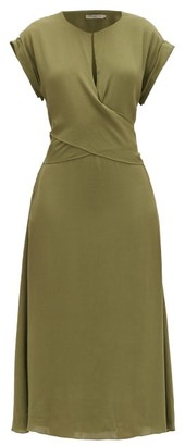 Three Graces London Tilde Draped Crepe Dress - Dark Green