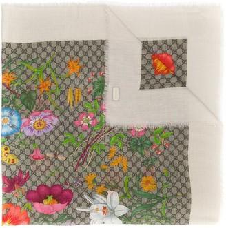 Gucci GG flora print silk-blend scarf