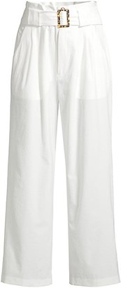 Solid And Striped High-Waist Belted Wide-Leg Seersucker Pants