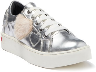 Love Moschino Faux Fur Heart Applique Platform Sneaker