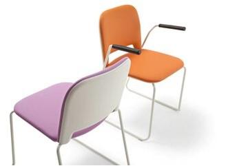 Lips Stackable Chair Segis U.S.A Outside Seat Finish: Black, Inside Seat Upholstery: Momentum Fuse Fabric Azurean, Frame Finish: Chrome