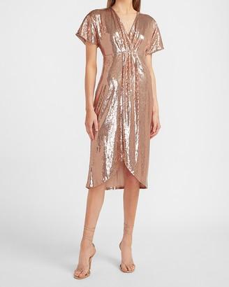 Express Sequin Wrap Front Dress