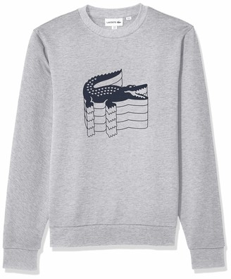 Lacoste Men's Long Sleeve Graphic Brushed Fleece Jersey
