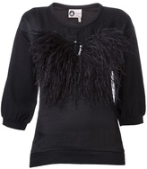 Lanvin embroidered feather top