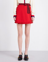 Gucci Ruffled-trims twill skirt