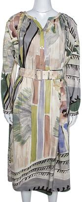 Burberry Linen & Silk Blend Abstract Print Belted Midi Dress M