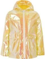 River Island Girls yellow iridescent rain mac