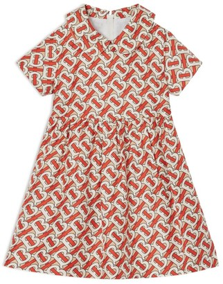 Burberry Kids Silk TB Monogram Print Dress