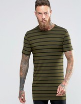 Asos Longline Muscle T-Shirt In Stripe With Crew Neck In Green