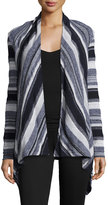 Three Dots Aria Striped Open-Front Cardigan, Night Iris