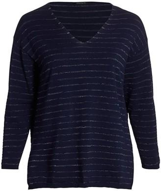 Lafayette 148 New York, Plus Size Stripe V-Neck Pullover
