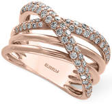 Effy Pavé Rose by Diamond Crisscross Ring (3/4 ct. t.w.) in 14k Rose Gold