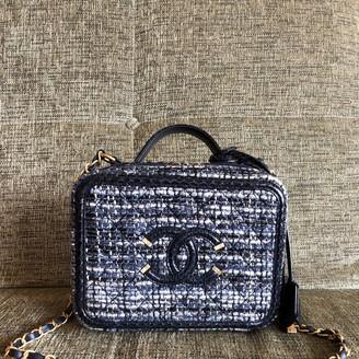 Chanel Vanity Blue Tweed Handbags