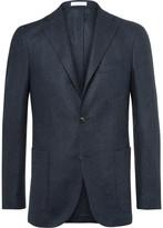 Boglioli Blue Slim-Fit Herringbone Slub Virgin Wool Blazer