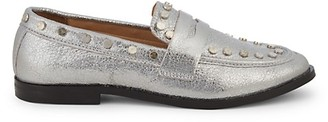 STEVEN NEW YORK After Studded Metallic Penny Loafers