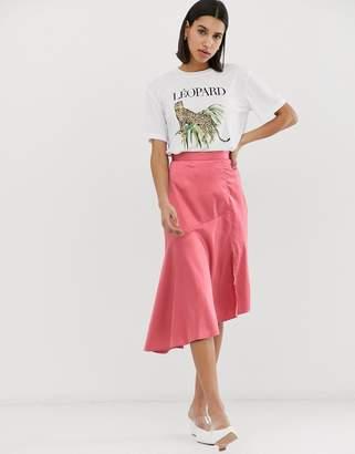 Neon Rose midi asymetric skirt in satin-Pink