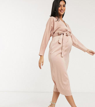 ASOS DESIGN Maternity midi dress with batwing sleeve and wrap waist in satin in blush