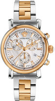 Versace 38mm Day Glam Two-Tone Chronograph Watch, Silver/Golden