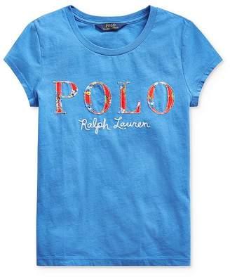 Ralph Lauren Girls' Appliquéd Logo Tee - Big Kid