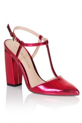 Little Mistress Footwear Metallic Pink T-Bar Pointed Heels