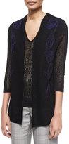 Escada 3/4-Sleeve Embroidered Lace Cardigan, Black