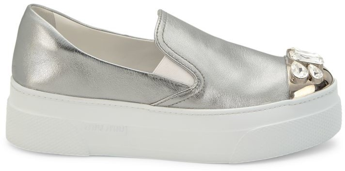 Miu Miu Jewelled Cap-Toe Metallic Leather Platform Slip-On Sneakers