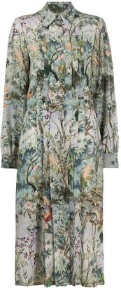 Alberta Ferretti Foliage Print Shirt Dress