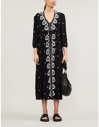 Free People Embroidered midi wrap dress