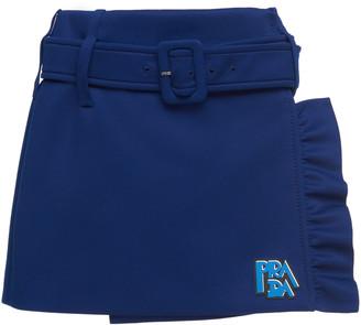 Prada Belted Ruffle Stretch-Jersey Mini Skirt