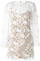 Self-Portrait floral motif see-through dress