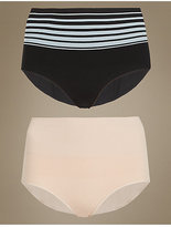 M&S Collection Medium Control 2 Pack Seamless High Leg Knickers