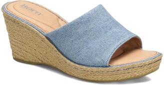 Børn Women's Sandals BLUE - Blue Denim Missoula Wedge Sandal - Women