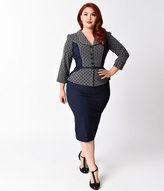 Stop Staring Plus Size Navy Blue & Grey Dotted Sleeved Leonora Wiggle Dress