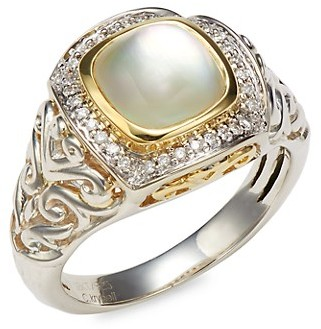 Charles Krypell Sterling Silver, 18K Yellow Gold, Mother-Of-Pearl Diamond Ring