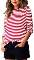 Gillberry Women's Blouse Gillberry Womens Casual Long Sleeve Round Neck Stripe Shirt Blouse Tops T Shirt (L, )