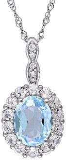 Sonatina 14K White Gold, Blue Topaz, White Topaz & Diamond Halo Vintage Necklace