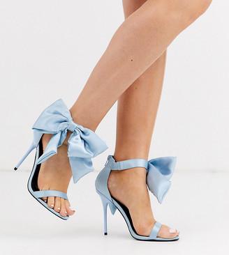 Asos Design DESIGN Wide Fit Wellness bow heeled sandals in blue