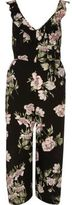 River Island Womens Black floral back tie culotte jumpsuit