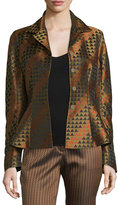 Etro Triangle Jacquard Peplum Jacket, Gold/Multi