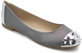 Pewter & Silver Satin Studded Ballet Flat