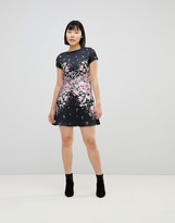 Lipsy Textured Midi Skater Dress with Floral Placement Trim