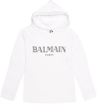Balmain Kids Logo cotton jersey hoodie