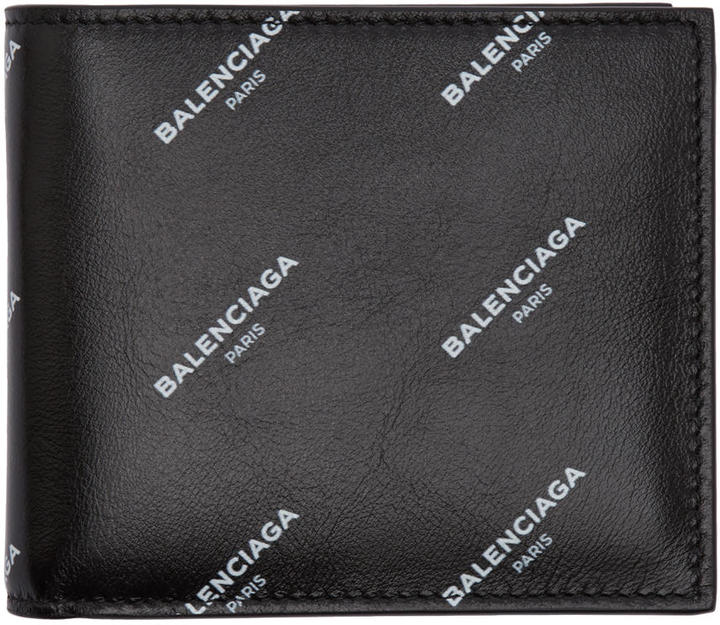 Balenciaga Black All Over Logo Bifold Wallet