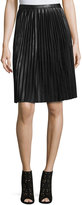 Carmen Carmen Marc Valvo Pleated Faux-Leather Midi Skirt, Black
