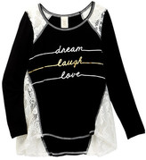 Over The Top Enjoy Every Moment Lace Inset Top (Big Girls)