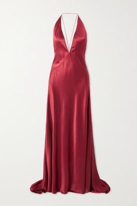 Michael Lo Sordo Alexandra Open-back Silk-satin Gown - Red