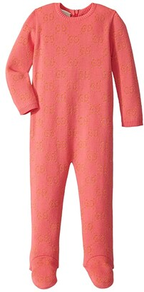 Gucci Kids Double G Long Sleeve All-In-One One-Piece (Infant) (Hot Pink/Gold) Girl's Jumpsuit & Rompers One Piece