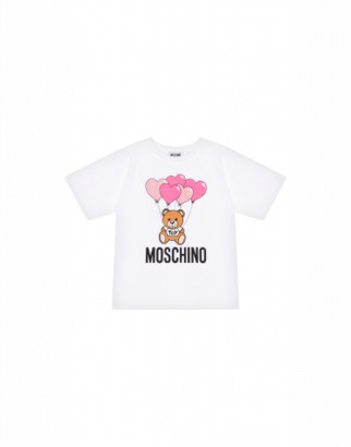 Moschino Heart Balloons Teddy Bear Maxi T-shirt Woman White Size 4a It - (4y Us)