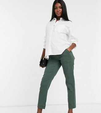 Bandia Maternity over the bump soft touch cargo pants in green