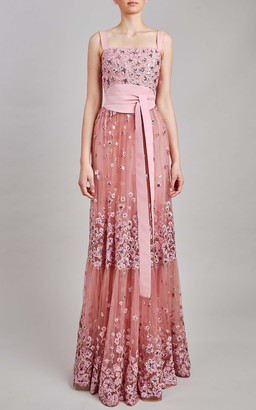 Elie Saab Tulle Embroidery Maxi Dress